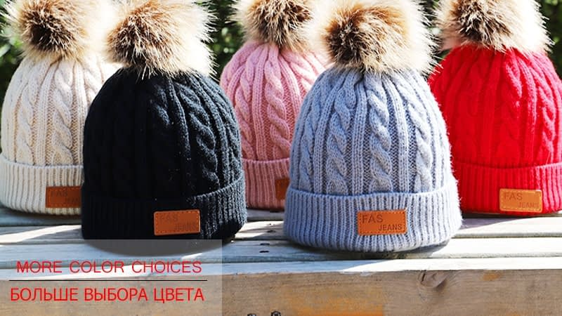 Children's Autumn, Winter Knitted Cotton Hat, Warm, Comfortable Solid Color Fashion Cap 23