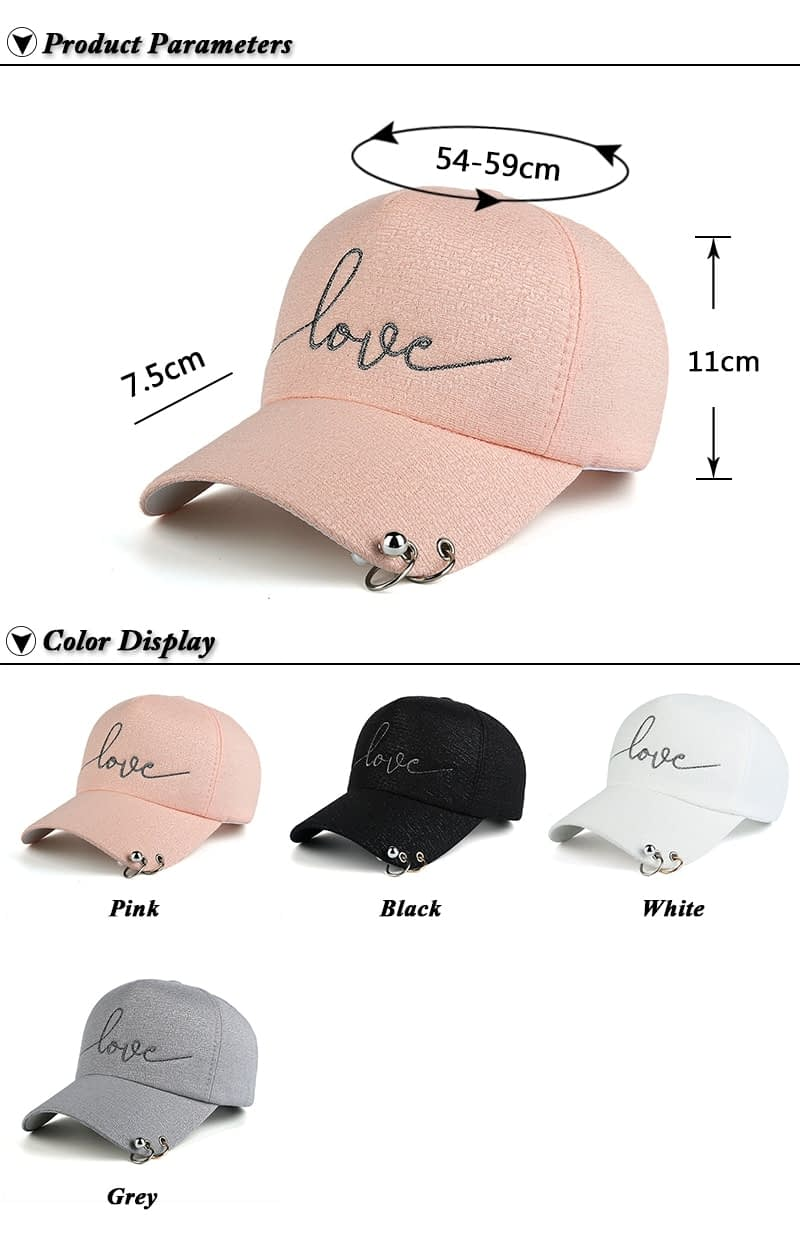 "New Snapback Cap, Metal Hoop Bead On Visor, "" Love"" Embroidery Hat 3"