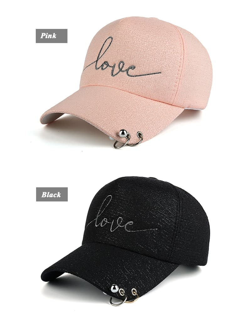 "New Snapback Cap, Metal Hoop Bead On Visor, "" Love"" Embroidery Hat 4"