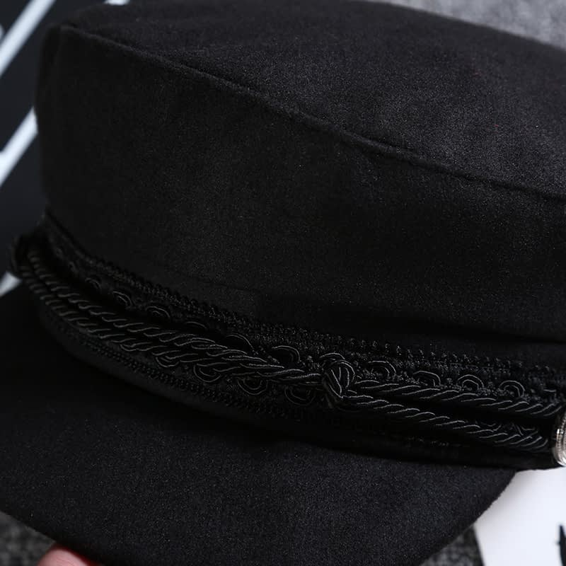 New Arrival, Black Lace Embroidery Captain Hat, Casual Rope Flat Cap, Women Clothing Accessories Beret Hat 16