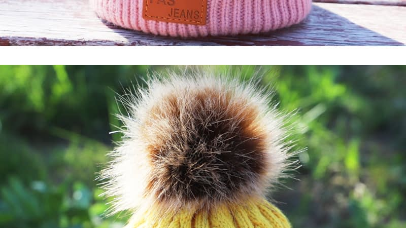 Children's Autumn, Winter Knitted Cotton Hat, Warm, Comfortable Solid Color Fashion Cap 13