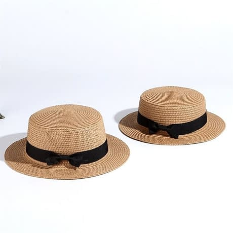 2019 Simple Summer Hat, Women's Casual Panama Hat, Women's Flat Brim Bowknot Straw Cap, Girls Sun Hat 1