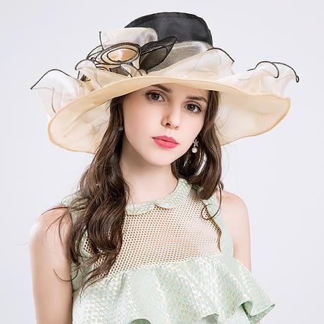 Summer Fashion Aristocratic Sombreros Hat, Wide Large Brim, Elegant Flower, Ladies Hat