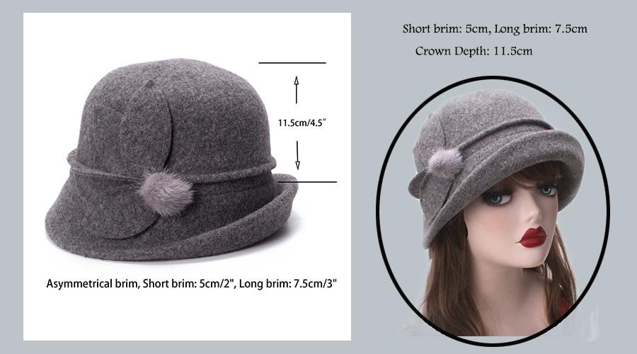 Women Cloche Hat, Wool Fedoras Hat, , Women's Fashion Soft Leaves Fur Bobbles Bucket Hat 14