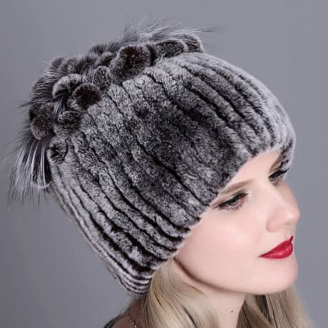 Women's Fur Hat, Winter Natural Rabbit Fox Fur Cap, 2018 New Fashion Warm Cap 1