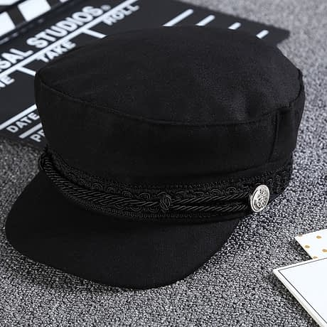 New Arrival, Black Lace Embroidery Captain Hat, Casual Rope Flat Cap, Women Clothing Accessories Beret Hat 2