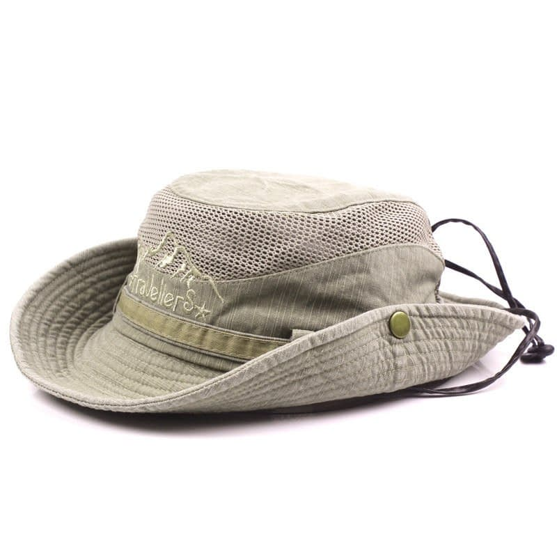 Men's Cap Summer, 100% Cotton Retro Mesh Breathable Bucket Hat, Wind Rope Fixed, Dad's Beach Hat 19