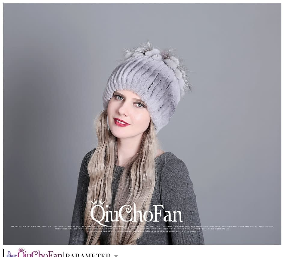 Women's Fur Hat, Winter Natural Rabbit Fox Fur Cap, 2018 New Fashion Warm Cap 10