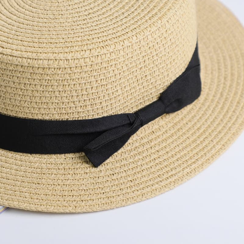 2019 Simple Summer Hat, Women's Casual Panama Hat, Women's Flat Brim Bowknot Straw Cap, Girls Sun Hat 11