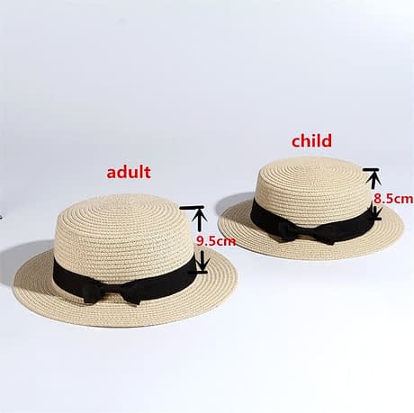 2019 Simple Summer Hat, Women's Casual Panama Hat, Women's Flat Brim Bowknot Straw Cap, Girls Sun Hat 2