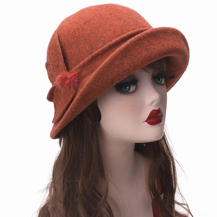 Women Cloche Hat, Wool Fedoras Hat, , Women's Fashion Soft Leaves Fur Bobbles Bucket Hat 31