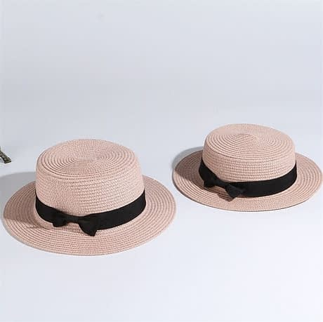 2019 Simple Summer Hat, Women's Casual Panama Hat, Women's Flat Brim Bowknot Straw Cap, Girls Sun Hat 3