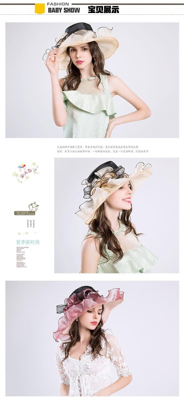 Summer Fashion Aristocratic Sombreros Hat, Wide Large Brim, Elegant Flower, Ladies Hat 7