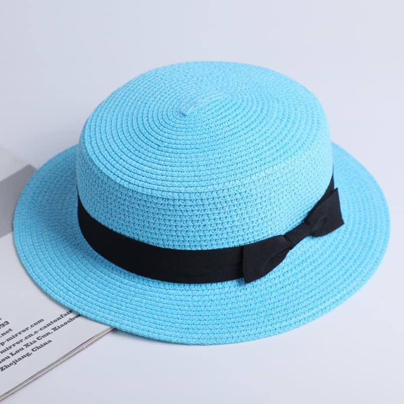2019 Simple Summer Hat, Women's Casual Panama Hat, Women's Flat Brim Bowknot Straw Cap, Girls Sun Hat 10