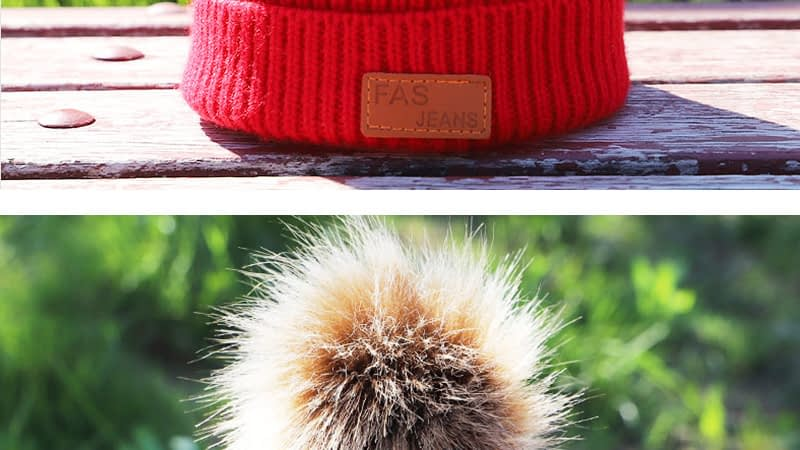 Children's Autumn, Winter Knitted Cotton Hat, Warm, Comfortable Solid Color Fashion Cap 11