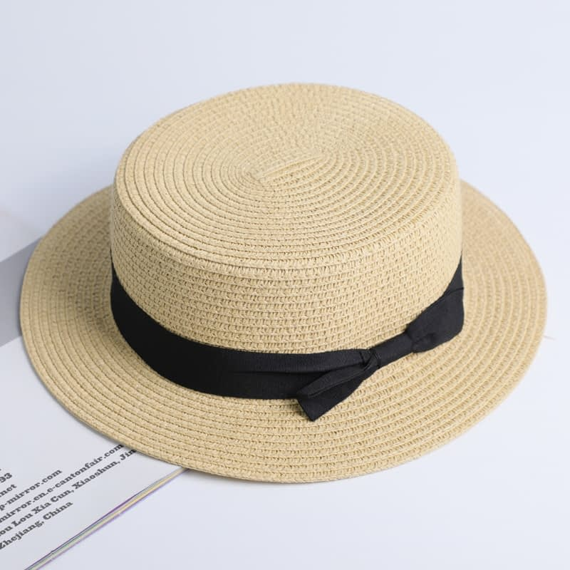 2019 Simple Summer Hat, Women's Casual Panama Hat, Women's Flat Brim Bowknot Straw Cap, Girls Sun Hat 8