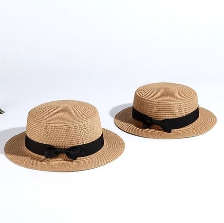 2019 Simple Summer Hat, Women's Casual Panama Hat, Women's Flat Brim Bowknot Straw Cap, Girls Sun Hat 5
