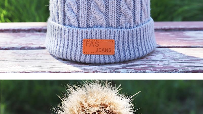 Children's Autumn, Winter Knitted Cotton Hat, Warm, Comfortable Solid Color Fashion Cap 9