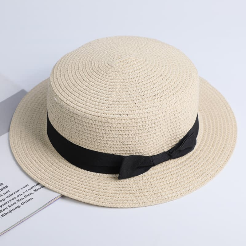2019 Simple Summer Hat, Women's Casual Panama Hat, Women's Flat Brim Bowknot Straw Cap, Girls Sun Hat 7