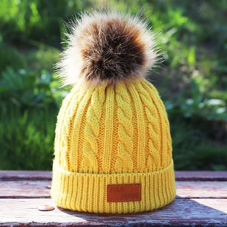 Children's Autumn, Winter Knitted Cotton Hat, Warm, Comfortable Solid Color Fashion Cap 2