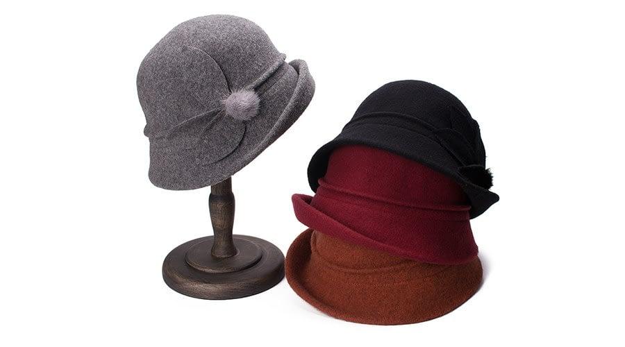 Women Cloche Hat, Wool Fedoras Hat, , Women's Fashion Soft Leaves Fur Bobbles Bucket Hat 11