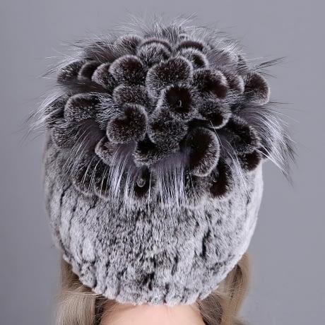 Women's Fur Hat, Winter Natural Rabbit Fox Fur Cap, 2018 New Fashion Warm Cap 2