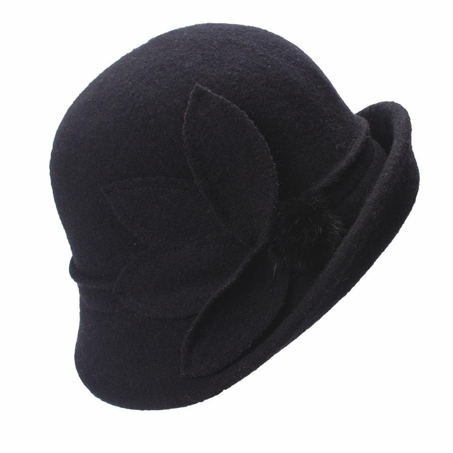 Women Cloche Hat, Wool Fedoras Hat, , Women's Fashion Soft Leaves Fur Bobbles Bucket Hat 16
