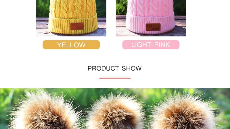 Children's Autumn, Winter Knitted Cotton Hat, Warm, Comfortable Solid Color Fashion Cap 6