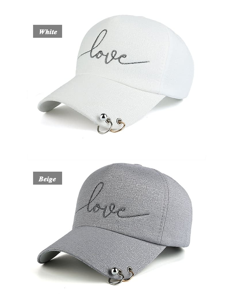 "New Snapback Cap, Metal Hoop Bead On Visor, "" Love"" Embroidery Hat 5"