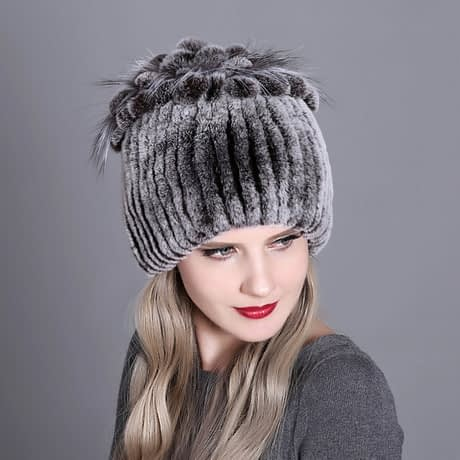 Women's Fur Hat, Winter Natural Rabbit Fox Fur Cap, 2018 New Fashion Warm Cap Variation 10