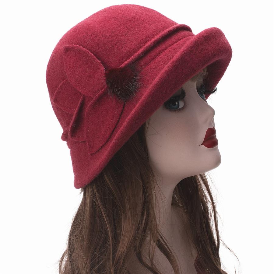 Women Cloche Hat, Wool Fedoras Hat, , Women's Fashion Soft Leaves Fur Bobbles Bucket Hat 36