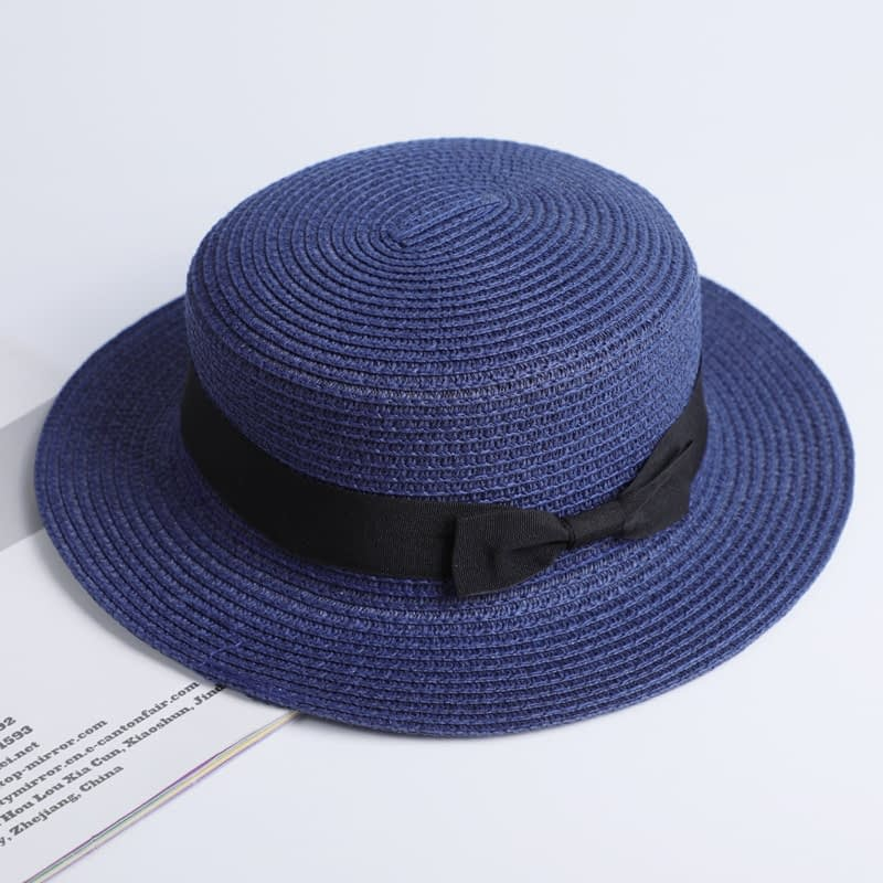 2019 Simple Summer Hat, Women's Casual Panama Hat, Women's Flat Brim Bowknot Straw Cap, Girls Sun Hat 9