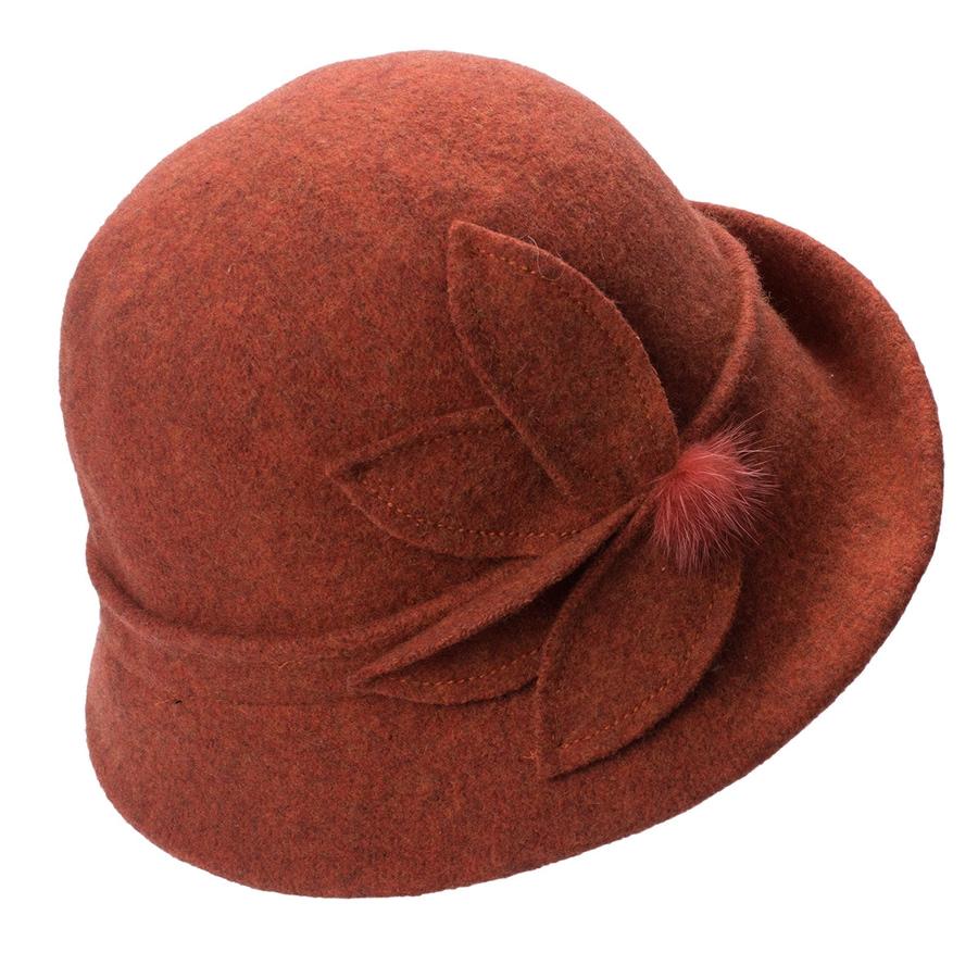 Women Cloche Hat, Wool Fedoras Hat, , Women's Fashion Soft Leaves Fur Bobbles Bucket Hat 27