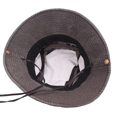 Men's Cap Summer, 100% Cotton Retro Mesh Breathable Bucket Hat, Wind Rope Fixed, Dad's Beach Hat 4