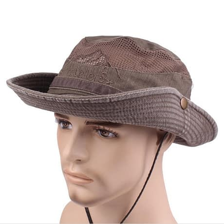 Men's Cap Summer, 100% Cotton Retro Mesh Breathable Bucket Hat, Wind Rope Fixed, Dad's Beach Hat 3