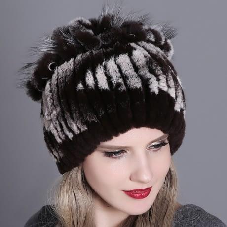 Women's Fur Hat, Winter Natural Rabbit Fox Fur Cap, 2018 New Fashion Warm Cap 3