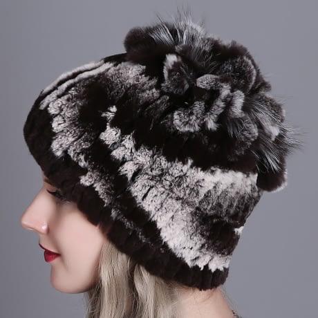 Women's Fur Hat, Winter Natural Rabbit Fox Fur Cap, 2018 New Fashion Warm Cap 4