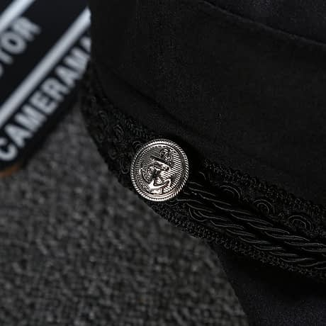 New Arrival, Black Lace Embroidery Captain Hat, Casual Rope Flat Cap, Women Clothing Accessories Beret Hat 5