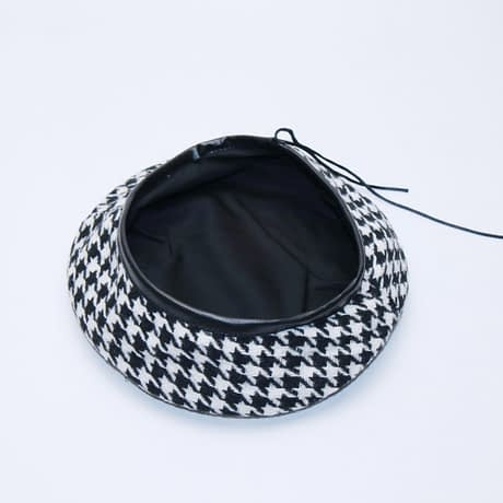 New Plaid Beret Hat, Women's French Beret, Hounds Tooth Beret, Adjustable 2