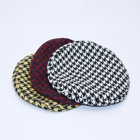 New Plaid Beret Hat, Women's French Beret, Hounds Tooth Beret, Adjustable 5