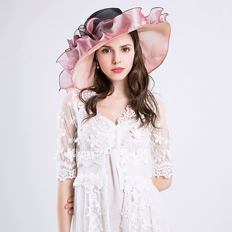 Summer Fashion Aristocratic Sombreros Hat, Wide Large Brim, Elegant Flower, Ladies Hat 3