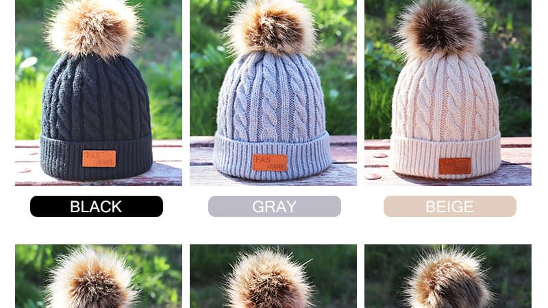 Children's Autumn, Winter Knitted Cotton Hat, Warm, Comfortable Solid Color Fashion Cap 4