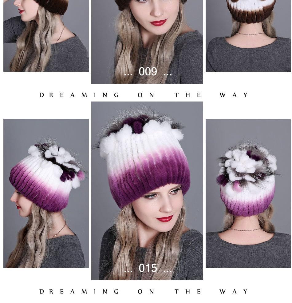Women's Fur Hat, Winter Natural Rabbit Fox Fur Cap, 2018 New Fashion Warm Cap 21