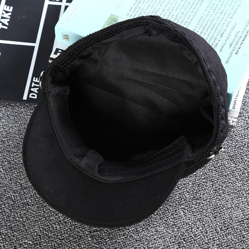 New Arrival, Black Lace Embroidery Captain Hat, Casual Rope Flat Cap, Women Clothing Accessories Beret Hat 13