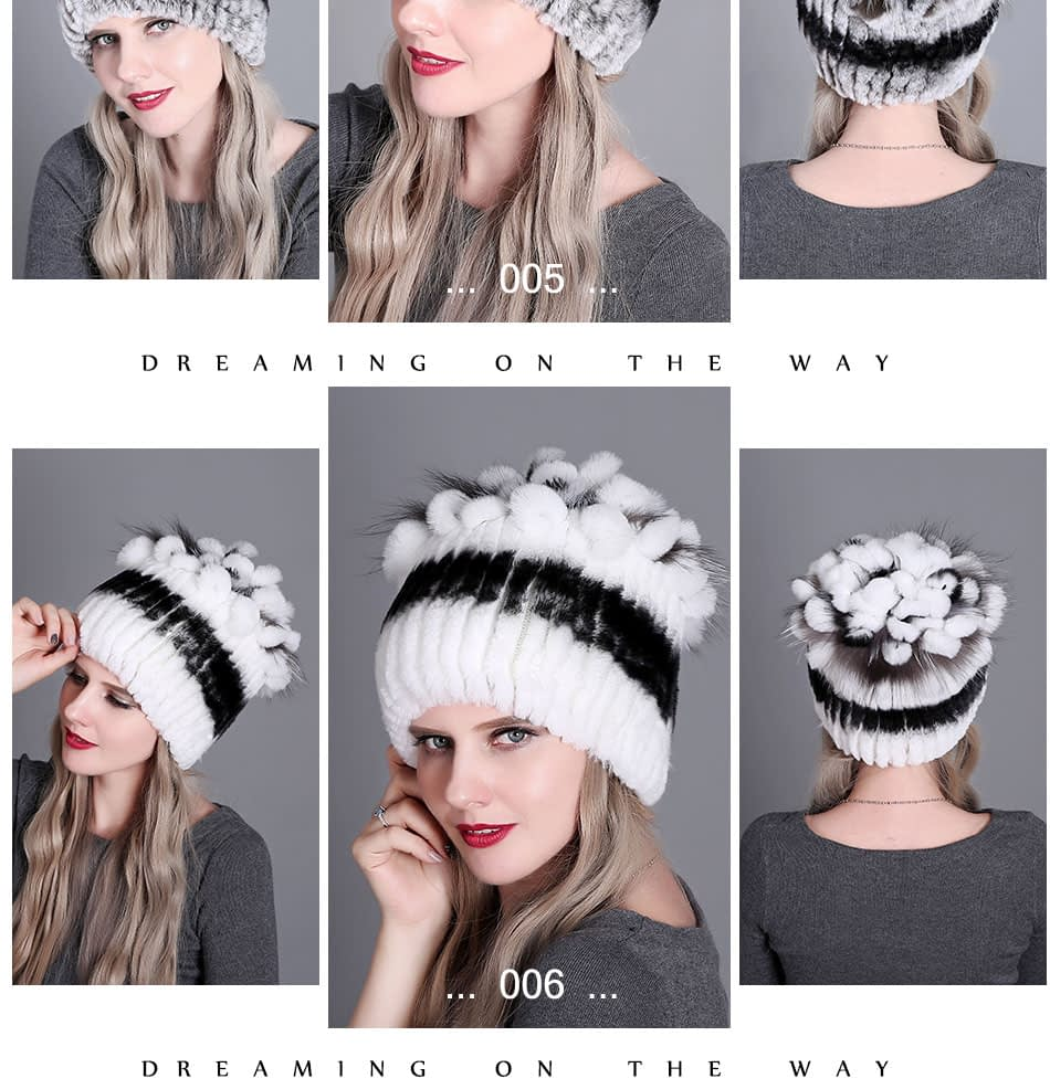 Women's Fur Hat, Winter Natural Rabbit Fox Fur Cap, 2018 New Fashion Warm Cap 17