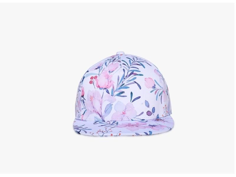 3D Printing Cap, Small Fresh Flowers Women Baseball Cap, Bone Cotton Adjustable Snapback 3