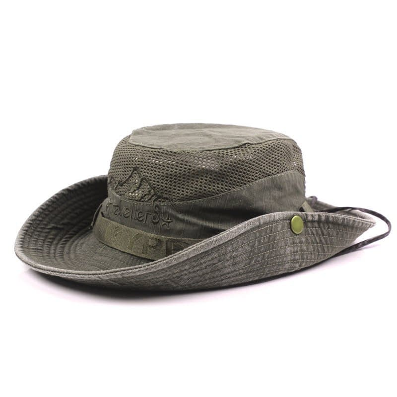 Men's Cap Summer, 100% Cotton Retro Mesh Breathable Bucket Hat, Wind Rope Fixed, Dad's Beach Hat 17