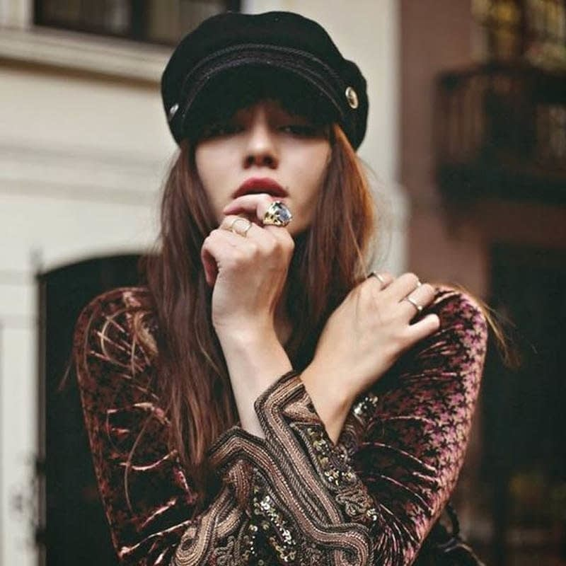 New Arrival, Black Lace Embroidery Captain Hat, Casual Rope Flat Cap, Women Clothing Accessories Beret Hat 11