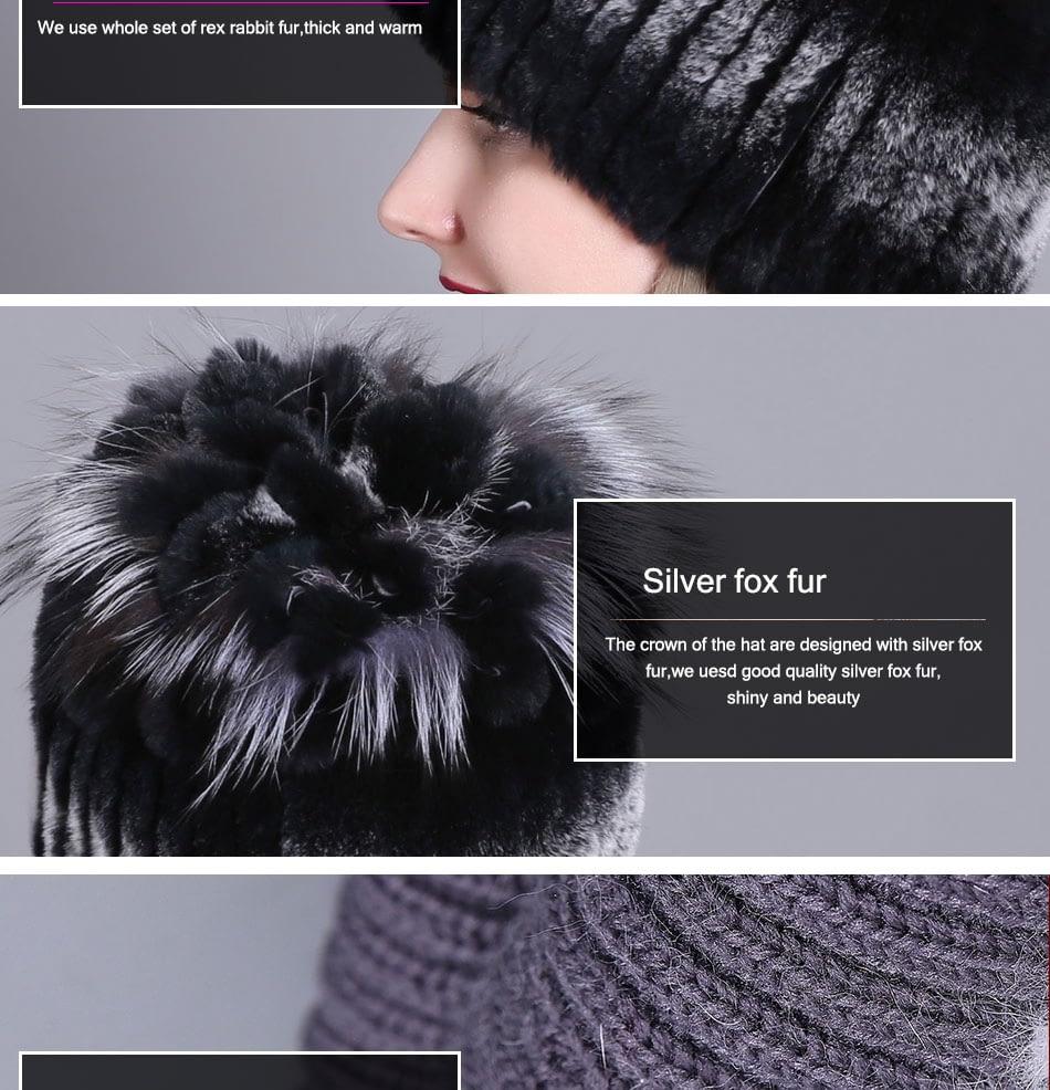 Women's Fur Hat, Winter Natural Rabbit Fox Fur Cap, 2018 New Fashion Warm Cap 12