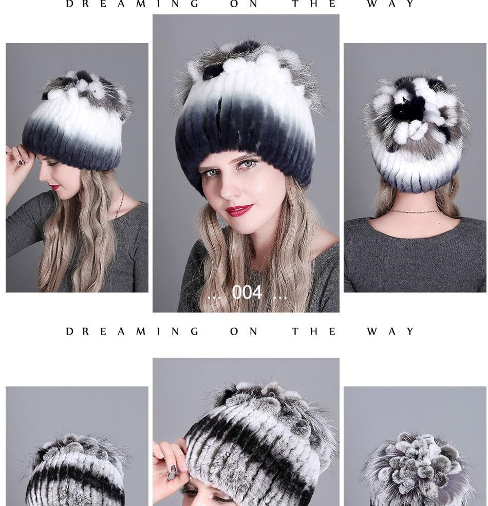 Women's Fur Hat, Winter Natural Rabbit Fox Fur Cap, 2018 New Fashion Warm Cap 16